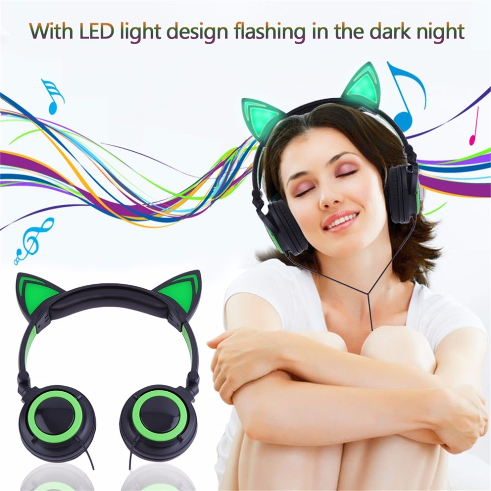 New Coming Folding Headphones Luminescence Folding Earphone With LED Light Gaming Headset For PC Laptop Computer Mobile Phone