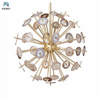 New Arrivals Round Ball Agate Lustre Luminarias G9 Led Chandelier Copper Metal Spark Pendant Chandelier Indoor Lighting Fixtures