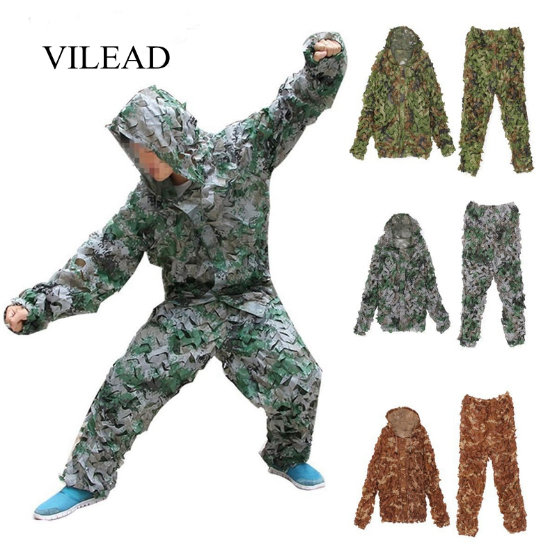 VILEAD 3 Color 3D Ghillie Suits Military Camouflage Hunting Clothes Sniper Clothing Army Airsoft Uniform Tactical Bionic For Men