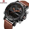 Мужские часы Топ люксовый бренд мужские кожаные спортивные наручные часы naviforce Мужские кварцевые светодиодный цифровые часы водонепроница...