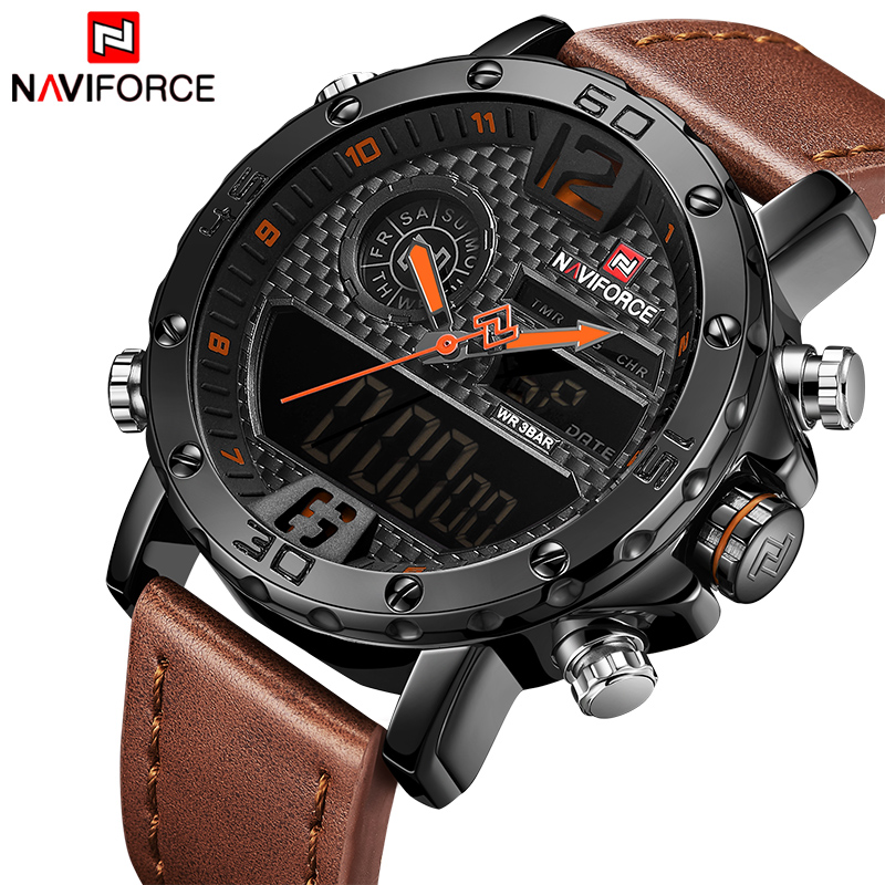Men Watches Top Luxury Brand Men Leather Sports Watches NAVIFORCE Men's Quartz LED Digital Clock Waterproof Military Wrist Watch