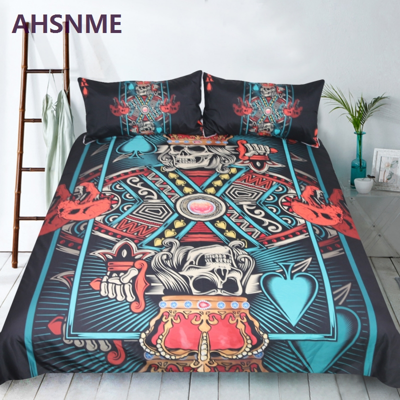 AHSNME Classic style peach heart K Quilt Cover Skull Crown Poker Pattern Home Textile Products Adapts to US and Australian sizeAHSNME Classic style peach heart K Quilt Cover Skull Crown Poker Pattern Home Textile Products Adapts to US and Australian size