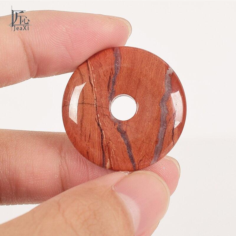 Red jasper Donut Pendant 1 pz Rotonda Naturale minerale di pietra crystal Healing Reiki DIY Del Branello Del Pendente Accessorio Dei Monili di Modo