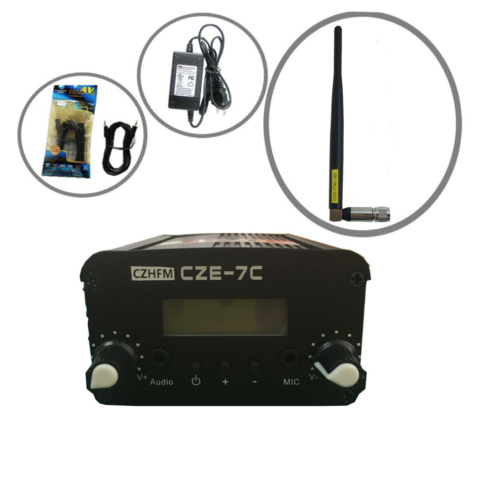 CZE-7C 7W FM stereo PLL broadcast transmitter free shipping free shipping czh618f 100c 100w 2u fm stereo radio transmitter exciter power adjustable from 0 to 100w