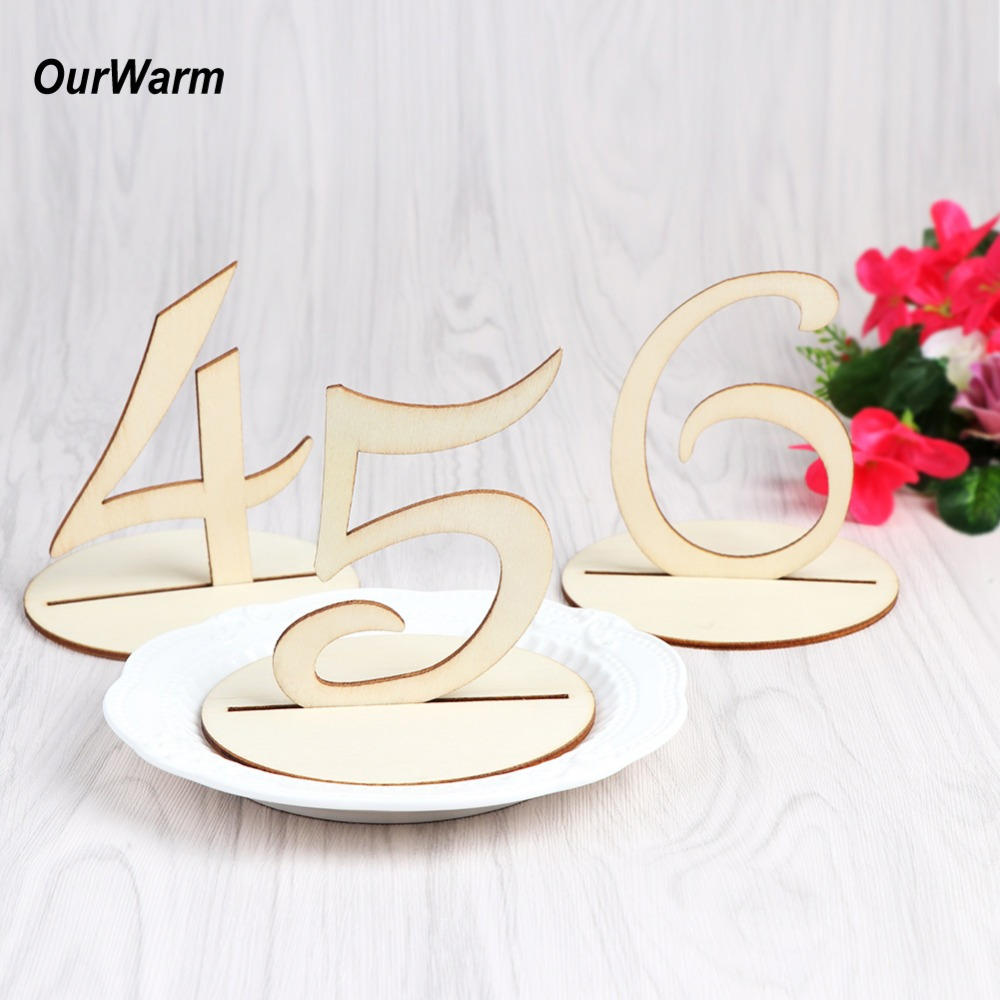 OurWarm Wooden Wedding Table Numbers 1-10 with Round Holder Base Rustic Wedding Table Decorations Party Direction Signs