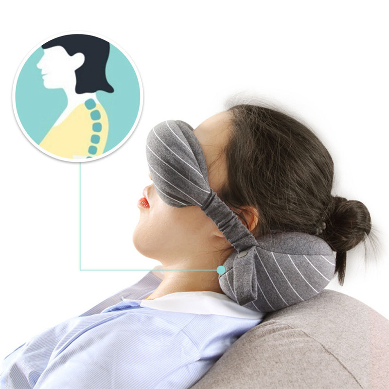 XC USHIO 2019 New 2 in 1 Grey Travel Neck Pillow Eye Mask Storage Bag with