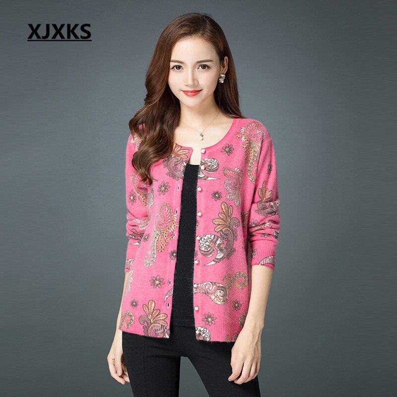 XJXKS Women sweater cardigan 2018 autumn winter new loose plus size high end Rabbit velvet cashmere