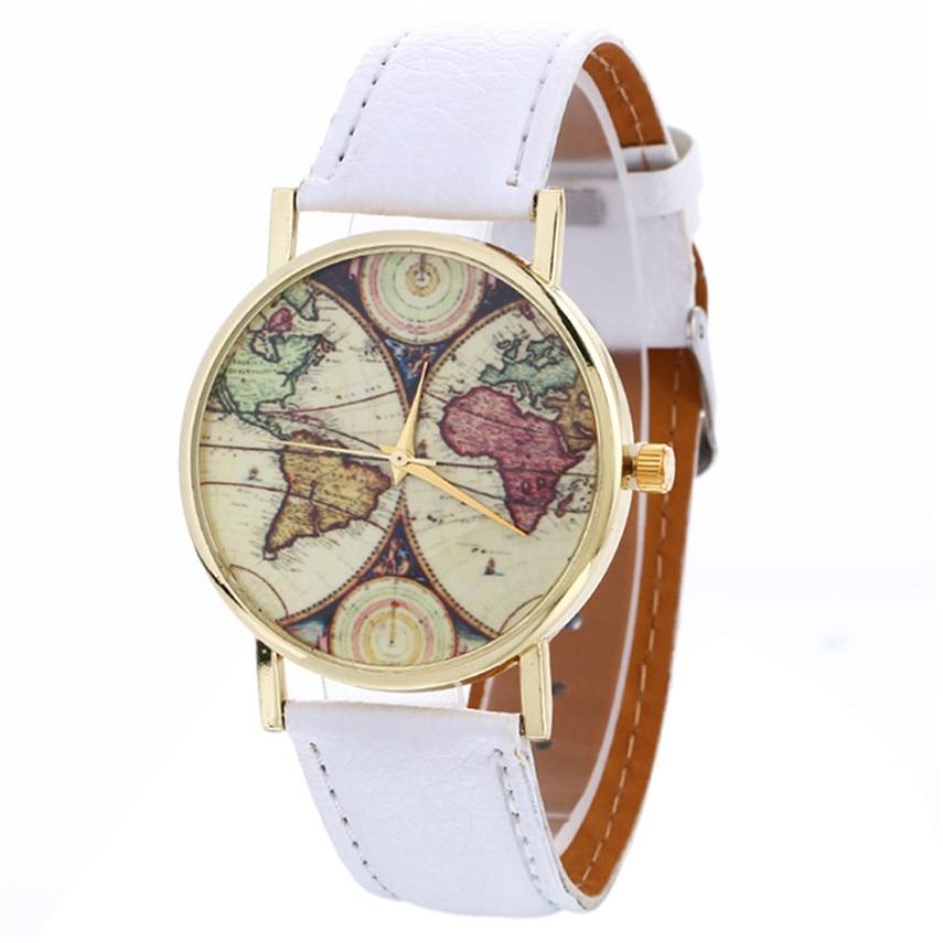 Relogio Feminino Women Watch Neutral Map Pattern Fashion Leather Quartz Wrist Watch