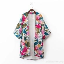 2017 Women Summer Long Sleeve Casual Loose Sun-proof Shirt Fashion Cardigan Chiffon Japan Kimono Cotton Long Chemise Retro Styl