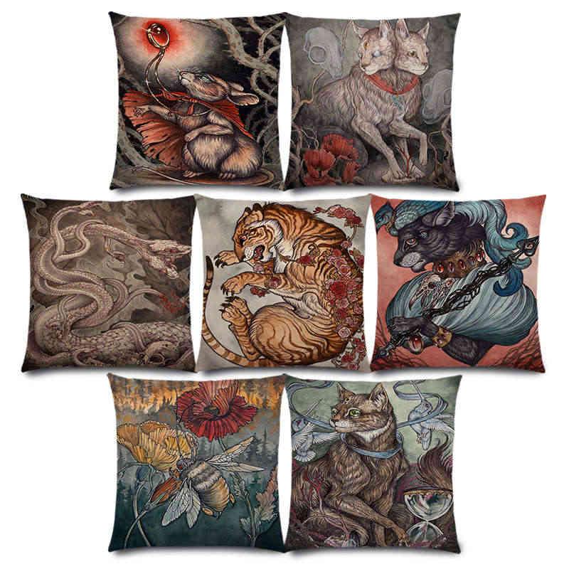Новые темные Волшебные создания таинственный Монстр удивительные Фэнтези животные кошка олень птица лиса Тигр Змея наволочка