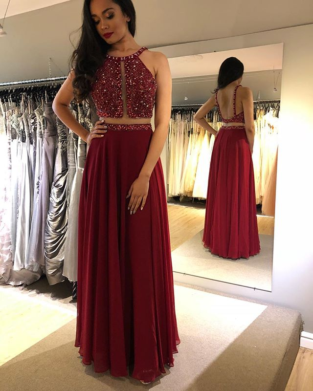 Gorgeous New Long   Prom     Dresses   2019 O-Neck Sleeveless Floor Length A-Line Beading Chiffon Evening   Dresses   Vestido de festa