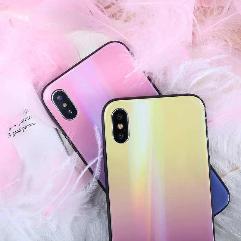 BONVAN For iPhone X 7 8 Plus Tempered Glass Back Case Gradient Color Laser Aurora Silicone Bumper For iPhone 7 6S 8 6 Plus Cover10