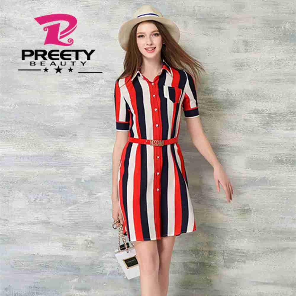Preetybeauty Vestidos De Rayas Verticales De Color Rojo Para