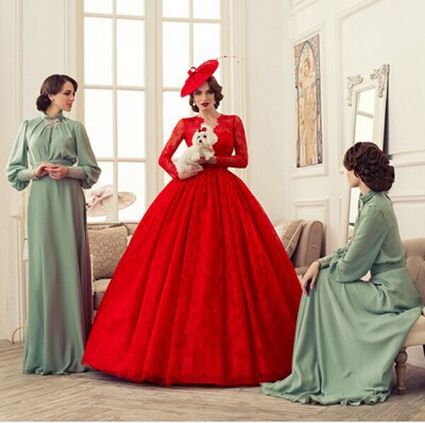 Red Vintage Ball Gown