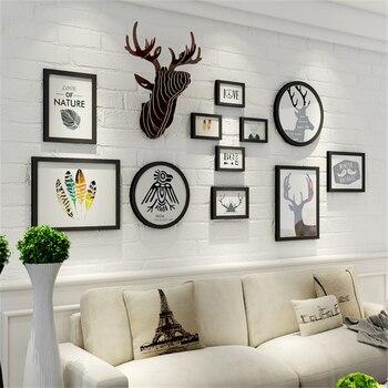 Big Black White Photo Frame Wall European Wood Photo Frame Set Wall Decoration Vintage Picture Frames Living Room Decoration