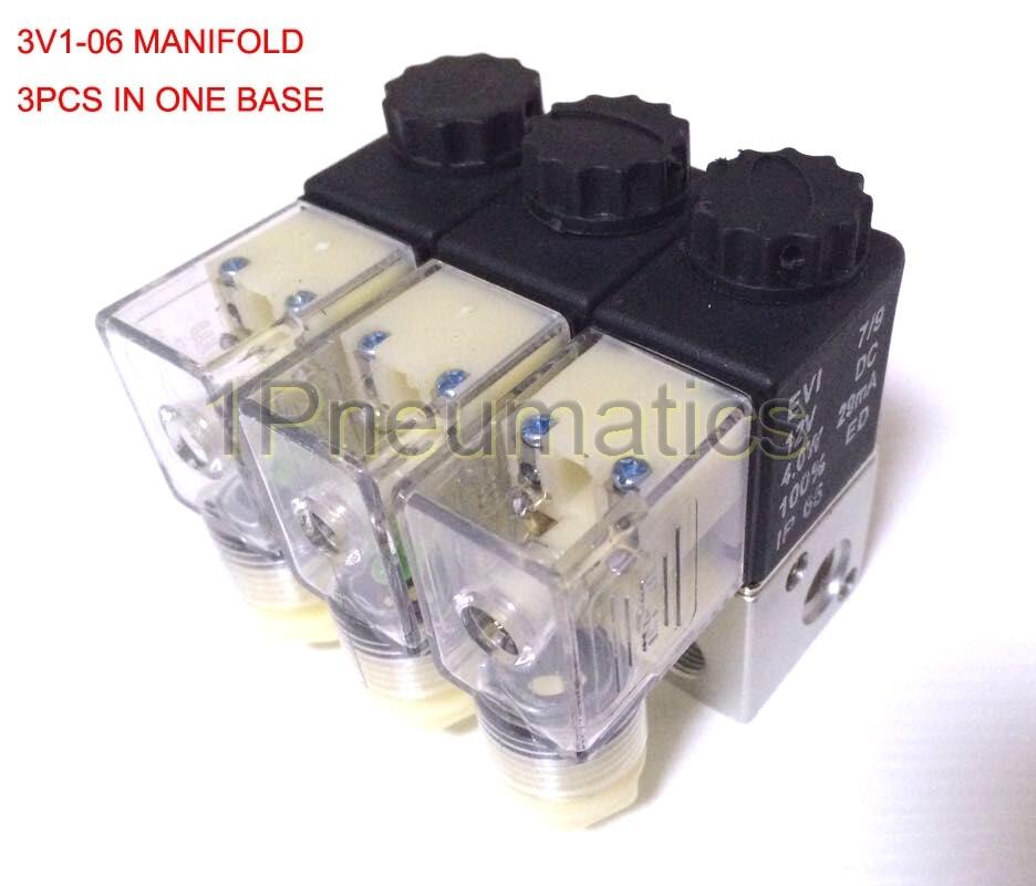Free Shipping 3PCS Manifold 3V1-06-3F 3 way Pneumatic Aluminium solenoid valve 3V1-06 Port 1/8 3V1 Manifold Base Air Valve DC12V