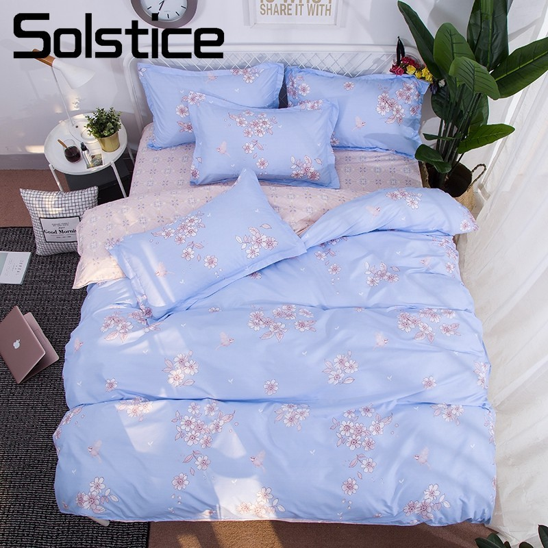 Solstice Home Textile Floral Light Blue Soft Bedding Sets Girls Kid Teens Bedlinen Duvet Cover Pillowcases Flat Bed Sheet 3/4Pcs
