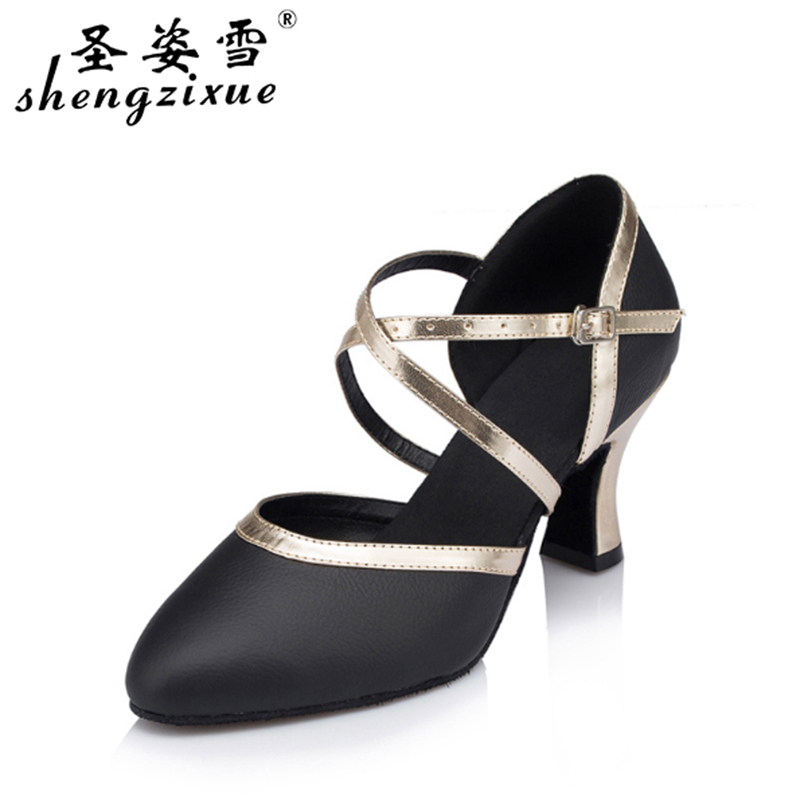 shengzixue Modern Latin dance shoes Women's Ballroom dancing shoes black leather Party Autumn and Winter Square dance shoes male latin dance shoes male sneaker leather shoes square modern adult soft bottom layer toe latin square dance party gb