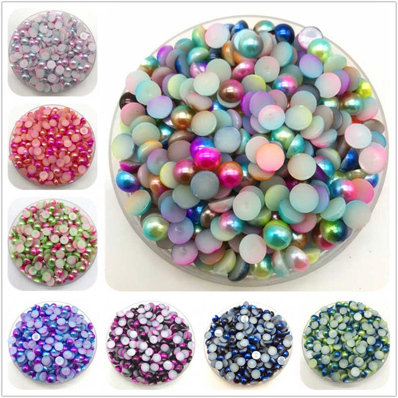 3/4/5/6/8mm Flat beads Colorful Imitation Pearls Half Round Pearl Bead Flat Back Scrapbook DIY Jewelry Making