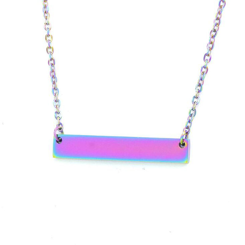 20pcs lot Blank Bar Pendant Necklace Mirror Surface Iridescence Rainbow Color Jewelry Making Can Engrave DIY