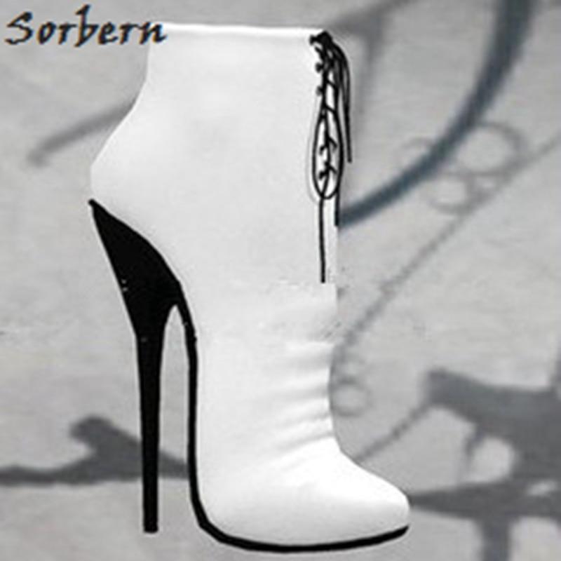 Rouge Cheville Orteils Femmes blanc Hauts Pointu Satin Bottes 14 Avec Ballet Chaussures Talons Sorbern 16 Dames Étiré Cm 4pFna