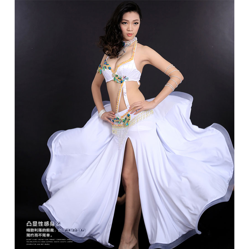 Free shipping Ney style belly dance costume set (bra+belt+skirt+arm) color stones 4pcs