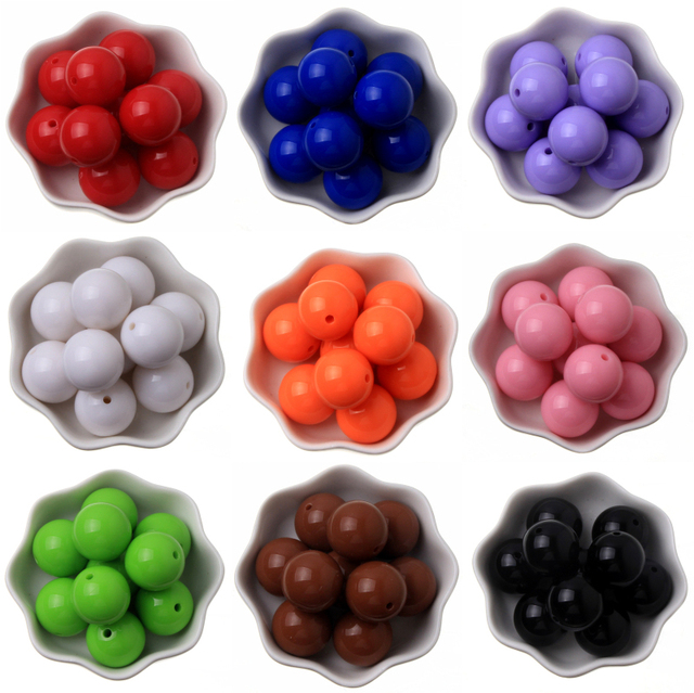 Chunky Bead Jewelry 6-20mm Acrylic Beads Bubblegum Solid Beads for Necklaces Jewelry Making