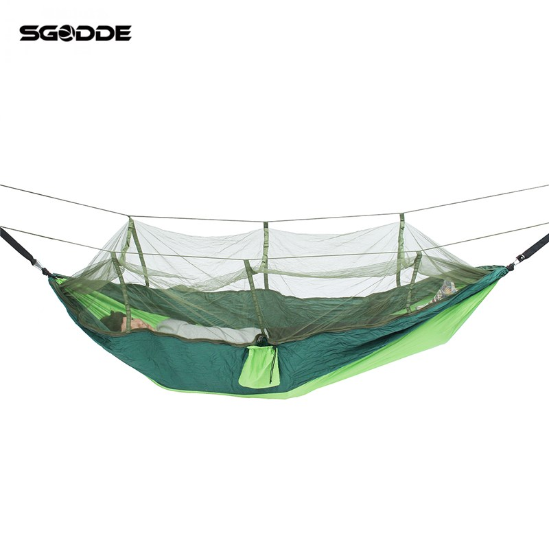 SGODDE Double Parachute Mosquito Net Hammock Chair Tourism Flyknit Hamaca Hamak Rede Garden Swing Camping Amaca Hangmat Sleeping free express 6 meters long inflatable snowman for christmas decoration blow up cute snowman balloon for garden toys