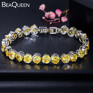 BeaQueen Trendy S Shape 6mm Round Cut Yellow Cubic Zirconia Stone Friendship Bracelets Party Jewelry Accessories for Women B020