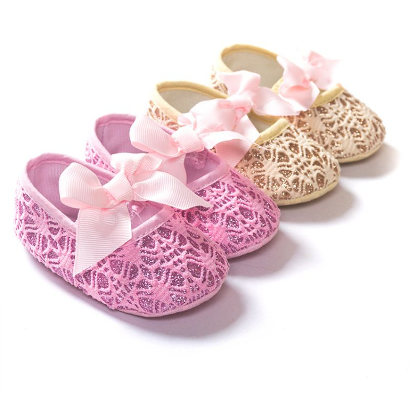 New Brand Toddler 0-18M Baby Girls Bowknot Princess Shoes Soft Soled First Walkers Crib Shoes