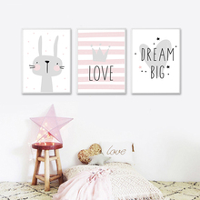 Pink Cute Rabbit Cartoon Crown Dalin Nordic Poster Girl Princess Bedroom Wall Art Canvas Painting Home Picture Decoration