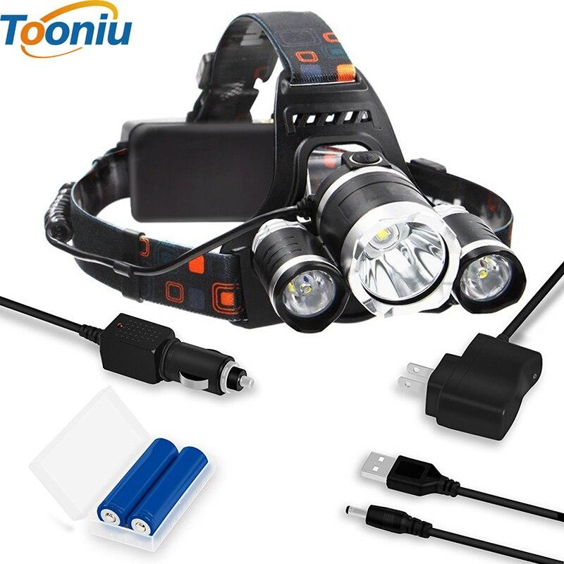 Wiederaufladbare Scheinwerfer 8000Lm XM-T6 3Led Scheinwerfer kopf licht Angeln Lampe Jagd Laterne + 2x18650 batterie + Auto/ AC/USB Ladegerät