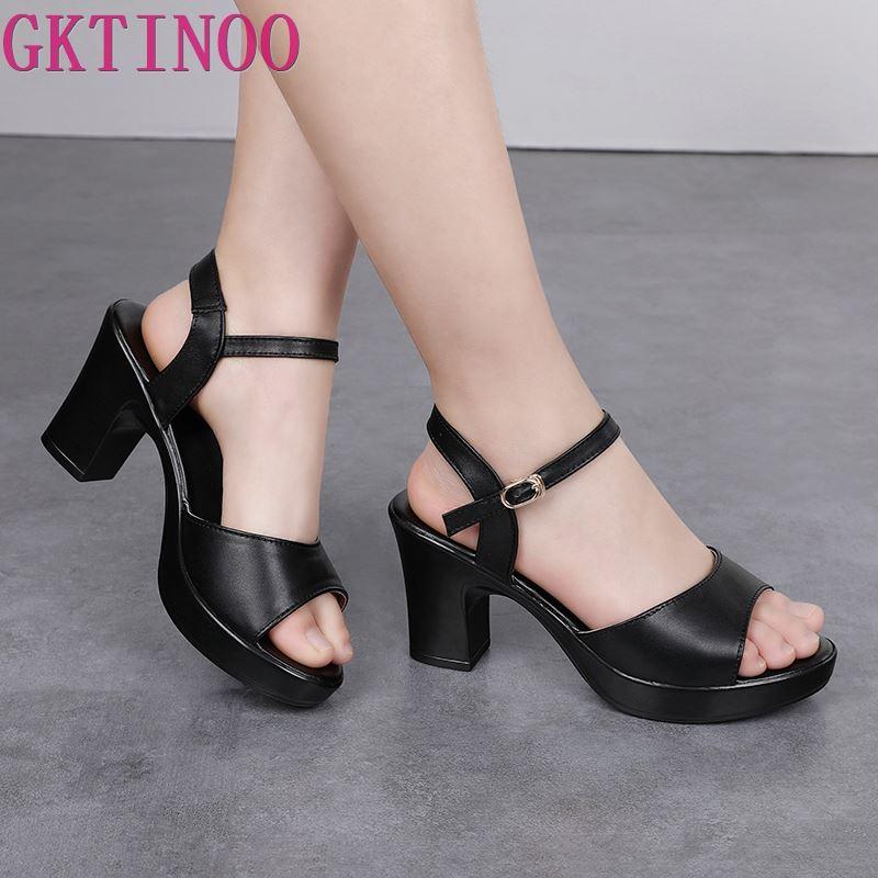 GKTINOO 2019 Summer New Women Sandals Fashion Genuine Leather Casual Sandals Female 8cm High Heel Summer Women's Shoes