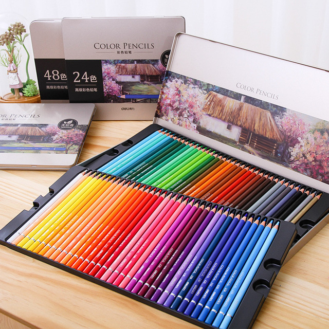 DeLi 24/36/48/72 Colors Oily Color Pencil Set Iron Box Colour ...