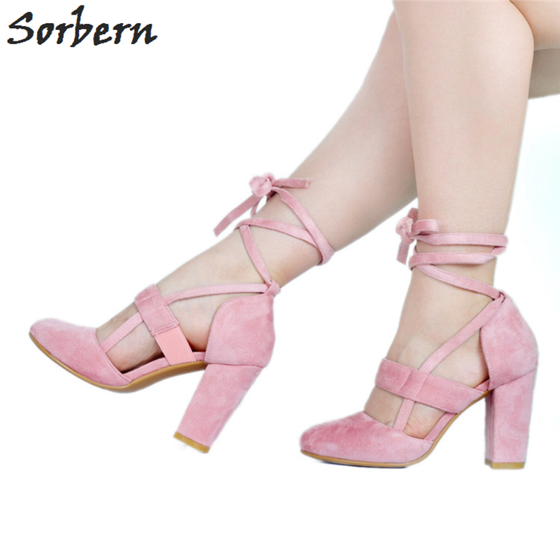 Sorbern Pink Flock Cute Round Toe Pumps Ankle Straps Women Pump Chunky High Heels Pumps Women Shoes Custom White Heels/Red Heels concise flock and round toe design pumps for women