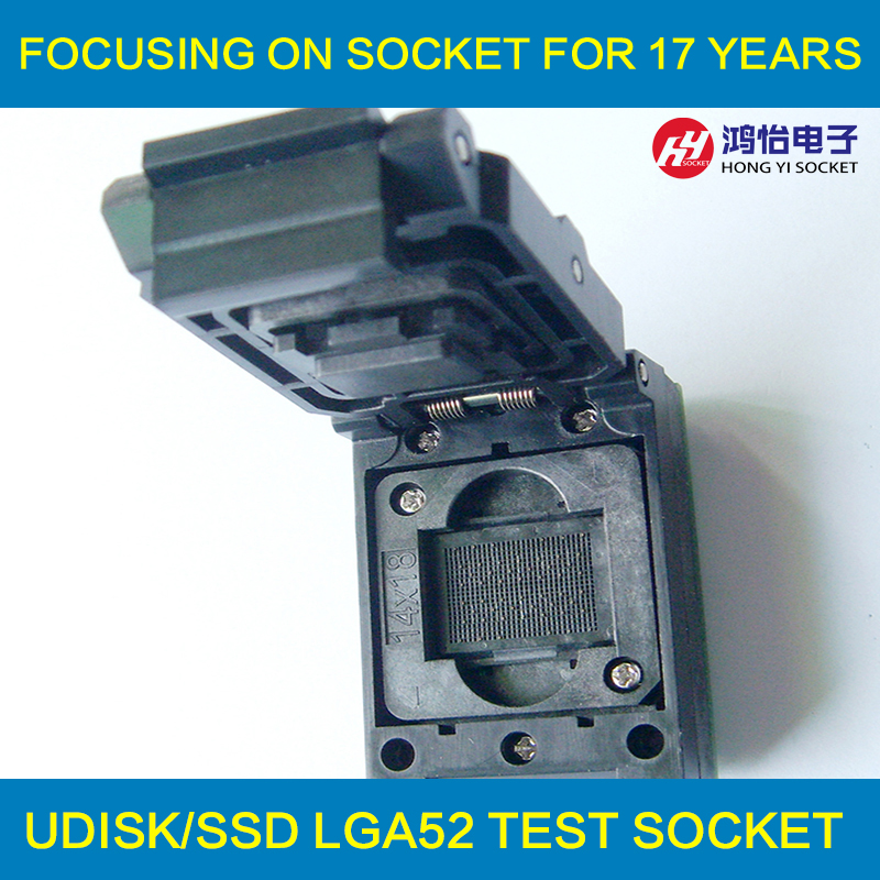 LGA52 TO DIP48 IC Test Socket With Board Burn in Socket Size 14x18mm Flash Programmer Adapter Cleamshell Programming Socket emcp221 usb test aging test board emcp fbga221 programmer adapter reader test socket size 14 18 development board free shipping