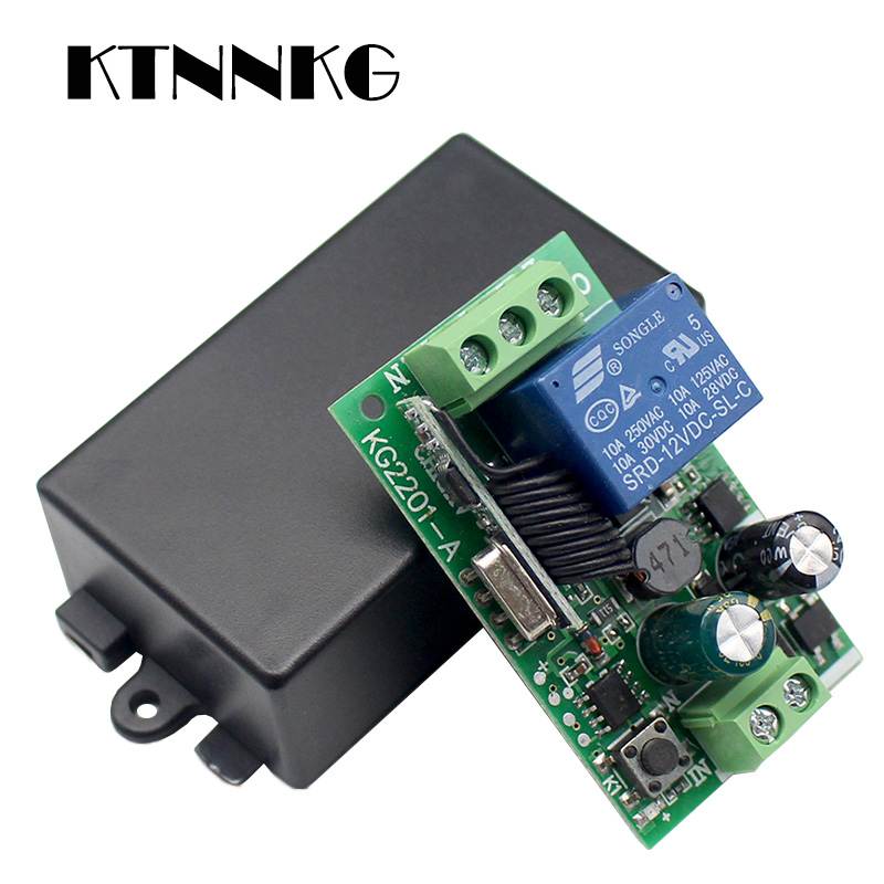 KTNNKG AC 85V 110V 220V 433Mhz Universal Wireless Remote Control Switch 1CH Relay Receiver Module for RF 433 Mhz Remote Controls 433mhz universal wireless rf remote control switch ac 220v 1ch 30a relay receiver and 2 channel 433 mhz remote for water pump