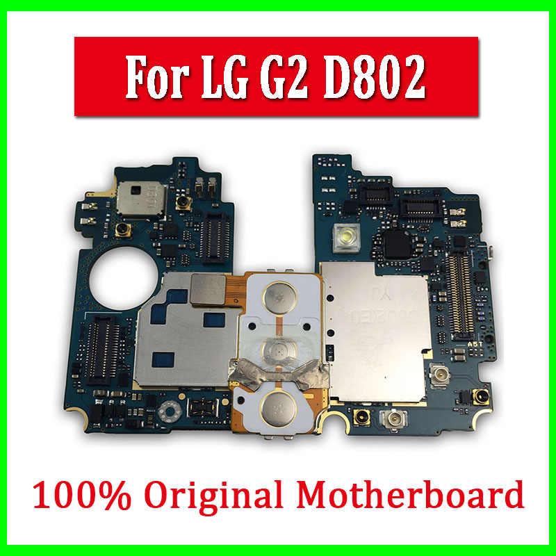 Asli Unlocked Motherboard untuk LG G2 D802 16GB Papan Utama untuk LG G2 D802 dengan Sistem Android Logic Board gratis Pengiriman