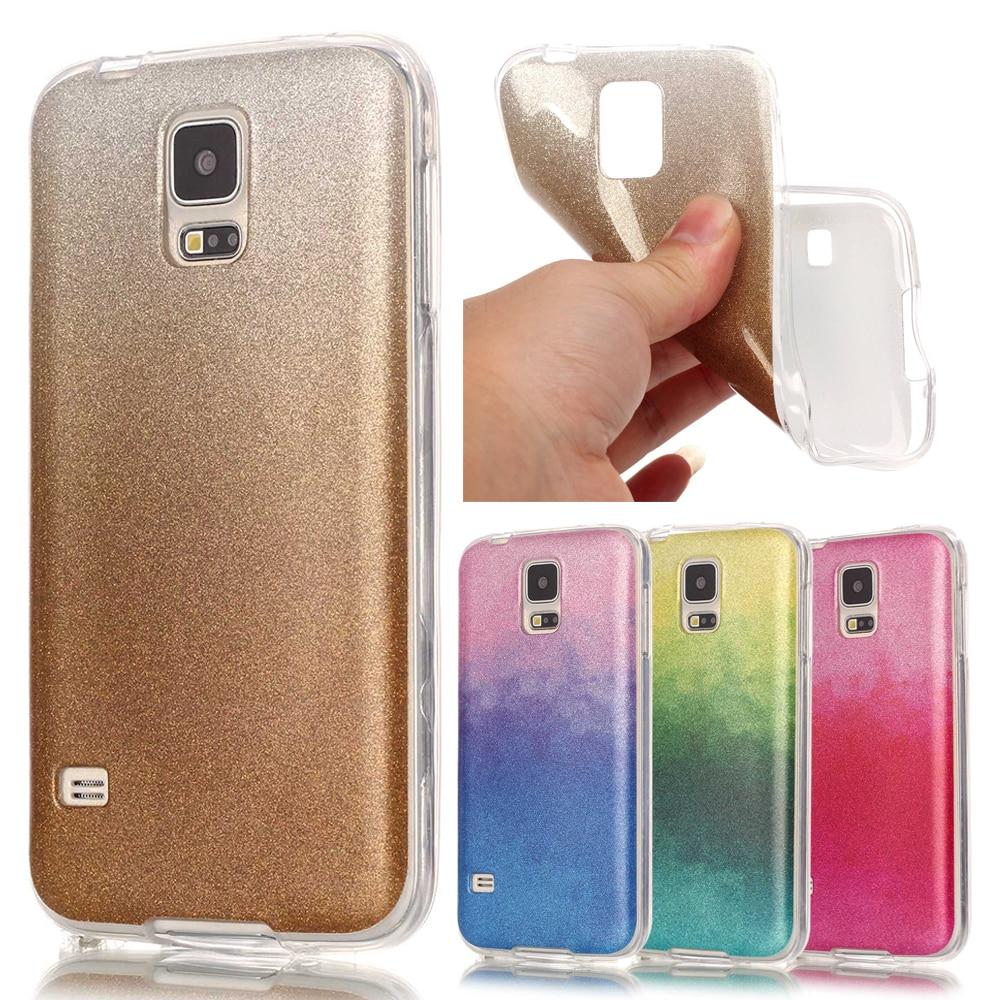 Scintillement de luxe Bling Doux Pour Coque Samsung Galaxy S5 Cas Silicone TPU Gradient Couverture Samsung Galaxy S5 Neo Cas et accessoires