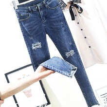 2019 New Skinny Pencil Jeans Female Hole Blue Pants Cotton Ripped Ankle Length Women Trousers Plus Size