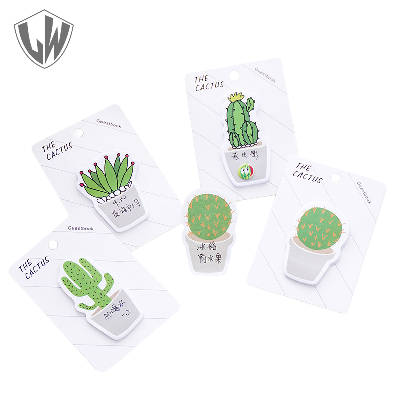 30 Pages/Pack Cactus Memo Pad 12.5*8.8cm Post it Notes Cute Kawaii Stationery Sticky Notes Company Stickers