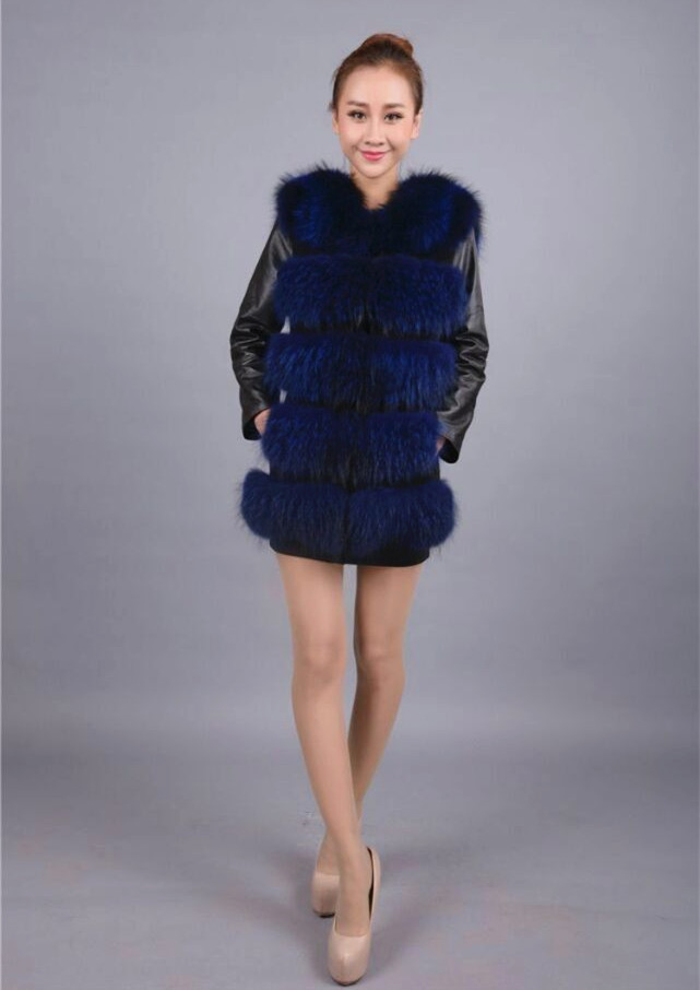 fashion Lady Raccoon Fur vest women s real fur and leather winter overcoat girl s warm