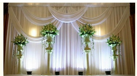Aliexpress Buy Hot Sale Simply 3X3M Elegent White With Swag Pleated Drapes Wedding Party