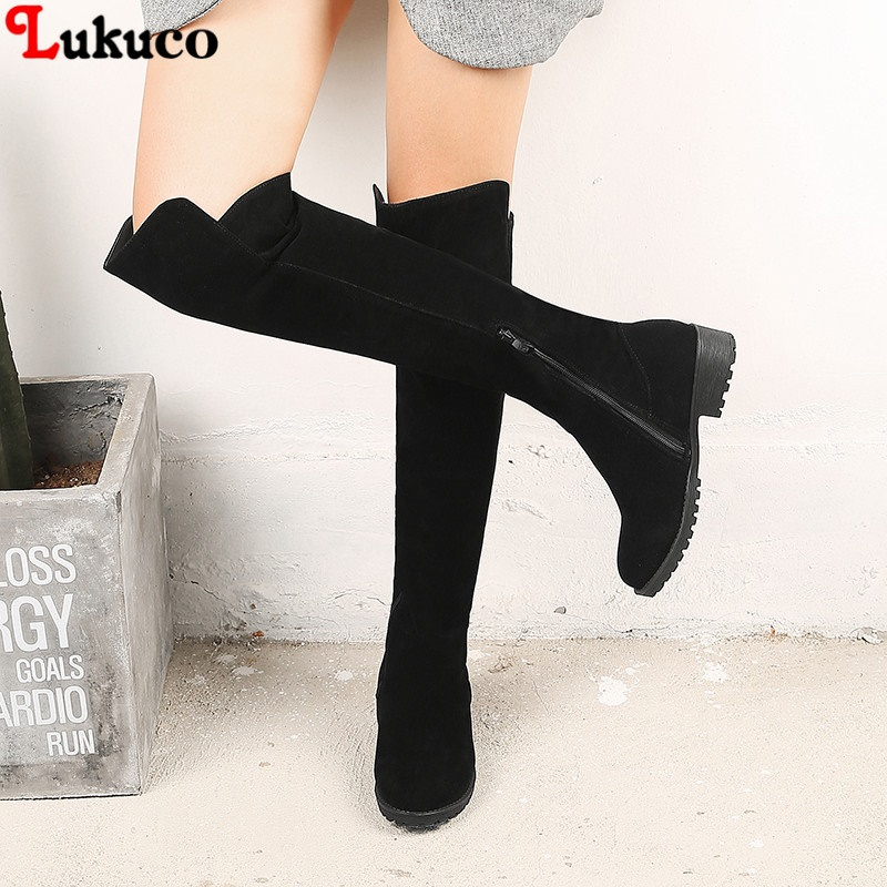 Lukuco Sale Warm Thigh High Boots Female Winter Boots Women Over the Knee Boots Size 34-46 Sexy Fashion Shoes 2018 riding boots free shipping 12 1mm 10 20 50pcs lot rose gold cuboid high grade lipstick tube with transparent cap empty lip balm container