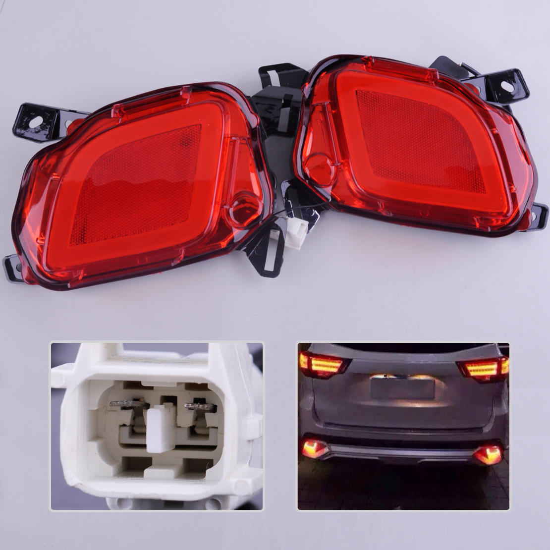 beler 2pcs LED Rear Bumper Brake Tail Lights Turn Signal Lamps Daytime Running Light Fit For Toyota Highlander 2015 2016 2017 led rear bumper warning lights car brake lamp cob running light led turn light for honda civic 2016 one pair