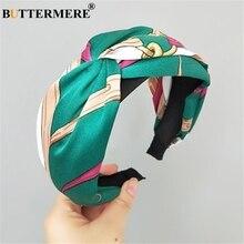 BUTTERMERE Green Wide Hair Band For Women Designer Brand Headband Girls Knot Hoop Korean Vintage Headwear Accessories