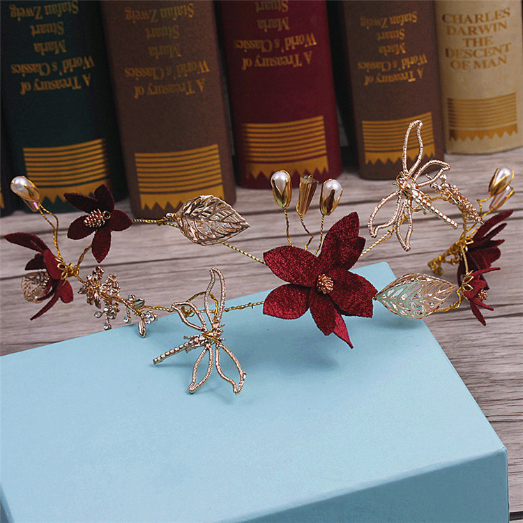 golden Dragonfly red flower hoop crown bride headdress chenille hairband wedding hair accessories 1 set gift cute princess crown hairpin hairband girls kids hair head hoop clips bows accessories for children barrette headdress