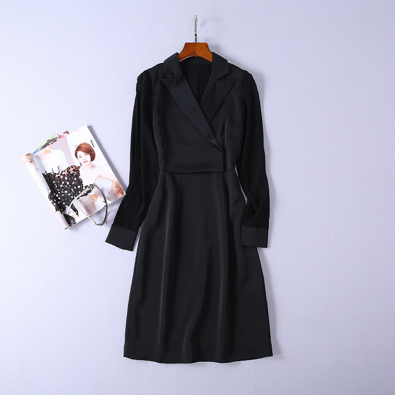 Top Quality New Fashion Korean Style Office Dress 2018 Autumn Ladies Notched Collar Long Sleeve Solid Black Formal Dress Work