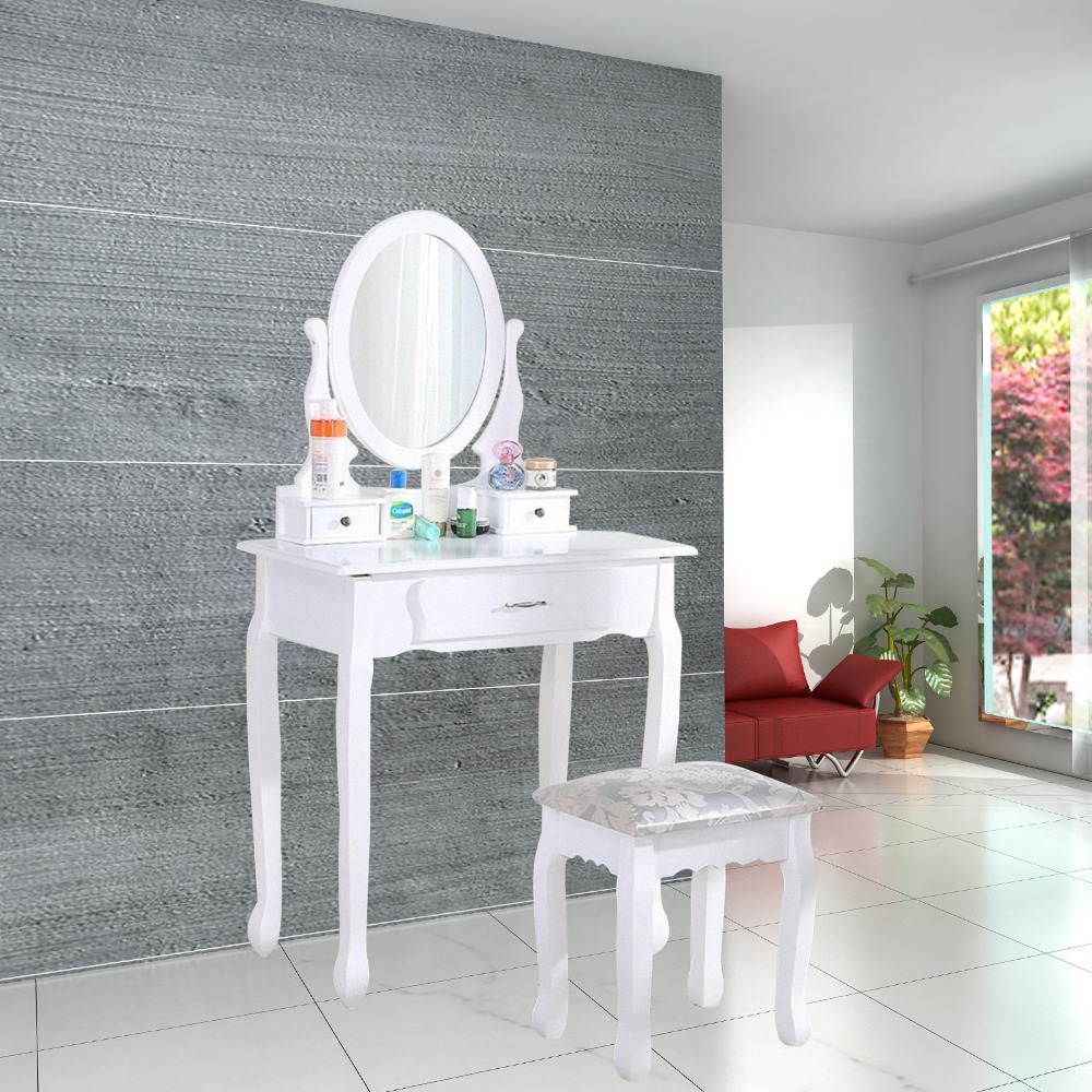 White Dressing Table Makeup Desk with 1Stool 3Drawers and 1Oval Mirror