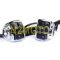 Motorcycle Chrome 1 Handlebar Control Horn Turn Signal Switches Wiring Harness for Harley Softail Dyna Sportster V Rod